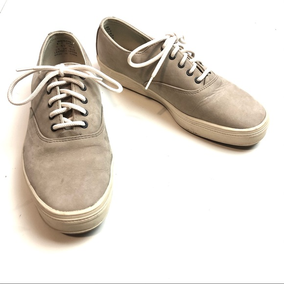 9 Taupe Leather Keds